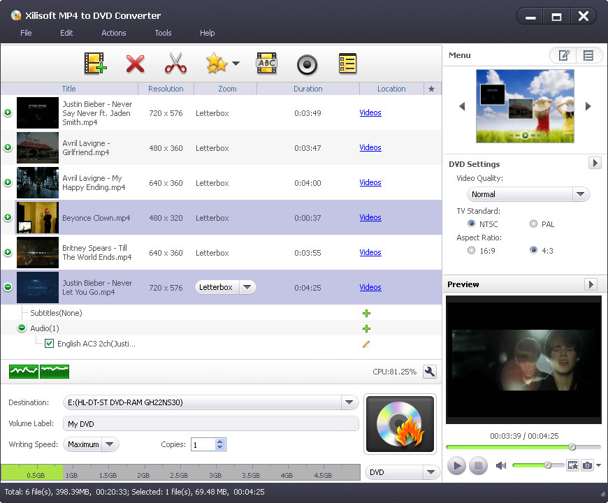 Xilisoft MP4 to DVD Converte: burn MP4 MPEG-4, H 264 videos